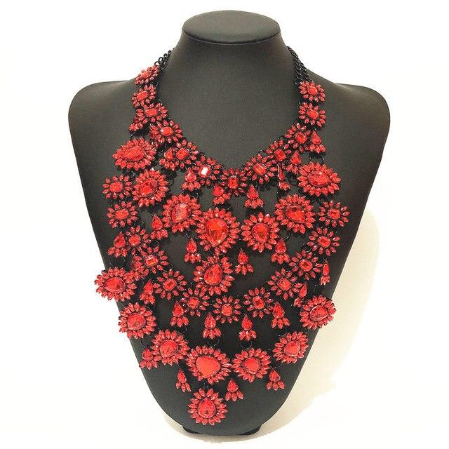 Фото женское многослойное ожерелье стразы массивное ожерелье чокер цена