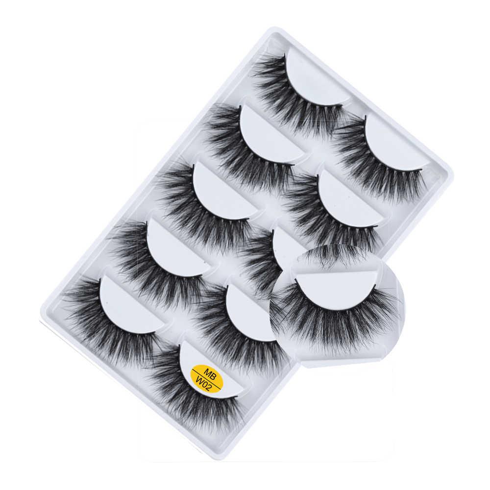 MB 5 par 3D sztuczne rzęsy puszyste cils makijaż naturalny Faux Cils Handmade przedłużanie rzęs gruba długa norka rzęsy