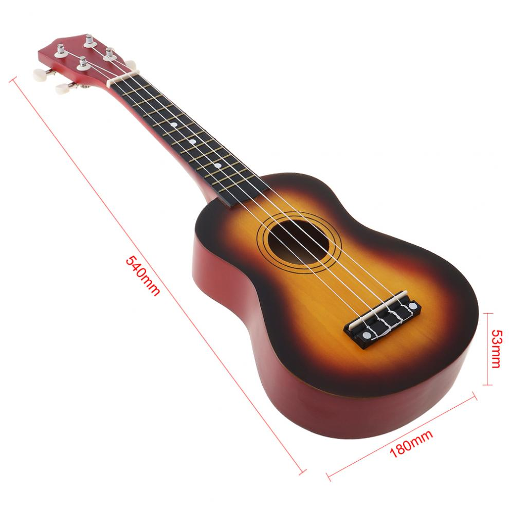 Купить с кэшбэком 21 Inch Durable Soprano Basswood Ukulele Beginners Children Sun Color Four String Guitar with String  Accessoriesand Pick