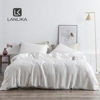 Lanlika Noble White 100% Silk Beauty Bedding Set 25 Momme Silk Healthy Duvet Cover Double Queen King Bed Linen Home Textile