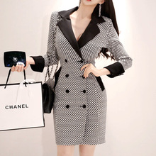 2019 Women Double Button Print Houndstooth OL Work Office Dress Autumn Winter Blazer Dress Women Contrast Retro Dress Plus Size недорого