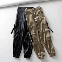 Europe Streetwear Autumn High Waist Casual Satin Pants Hip hop Loose Harajuku BF Thin Cargo Pants Women Big Pocket Pants