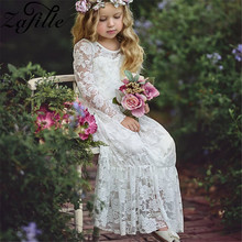 ZAFILLE 2020 Girls Clothing Summer Dress White Lace Dress Long Sleeve Toddler Dress Baby Girl Clothes Kids Princess Party Dress