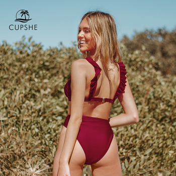 CUPSHE Solid Red Green Ruffled High-Waisted Bikini Sets Sexy Swimsuit Two Pieces Swimwear Women 2020 Beach Bathing Suits 3