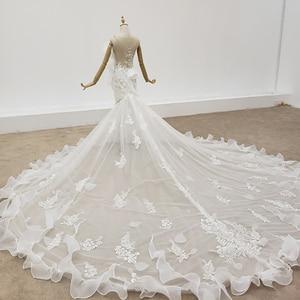 Image 4 - HTL1398 V Neck Wedding Gowns Applique Mermaid Wedding Dress Illusion Bride Dress Bohemian Pearl свадебное платье русалка