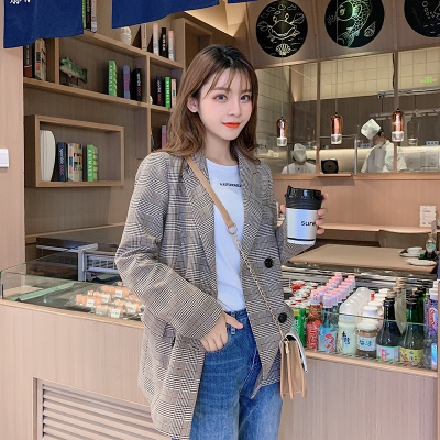 2020 Autumn Fashion British Style Women's Coat Long Sleeve Loose Plaid Retro Double Breasted Pockets Ladies Blazers Femme Casual