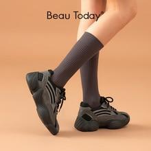 Beautoday分厚いスニーカー女性スエード革メッシュラウンドトゥクロス縛らプラットフォームの女性カジュアルお父さん靴手作り29347