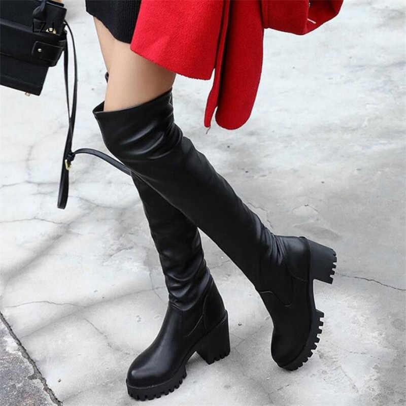 LZJ 2019 สีดำรองเท้าผู้หญิงรองเท้าบูทยาวต้นขาสูงรองเท้ารองเท้าส้นสูง Botines Mujer Bota Feminina รองเท้า Martin รองเท้าผู้หญิง