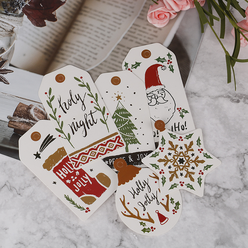 New Arrival 10Pcs/Set Painted Tag Merry Christmas DIY Unique Gift Tag Small Card Optional String DIY Craft Label