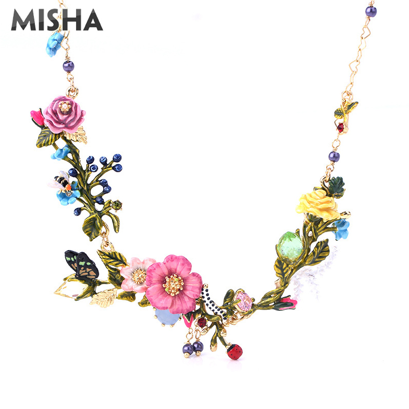 MISHA Charm Necklace For Women Enamel Glaze Handmade Garden <font><b>Fllowers</b></font> Bouquet Shape Pendant Necklace Party Birthday Gift L438-39 image