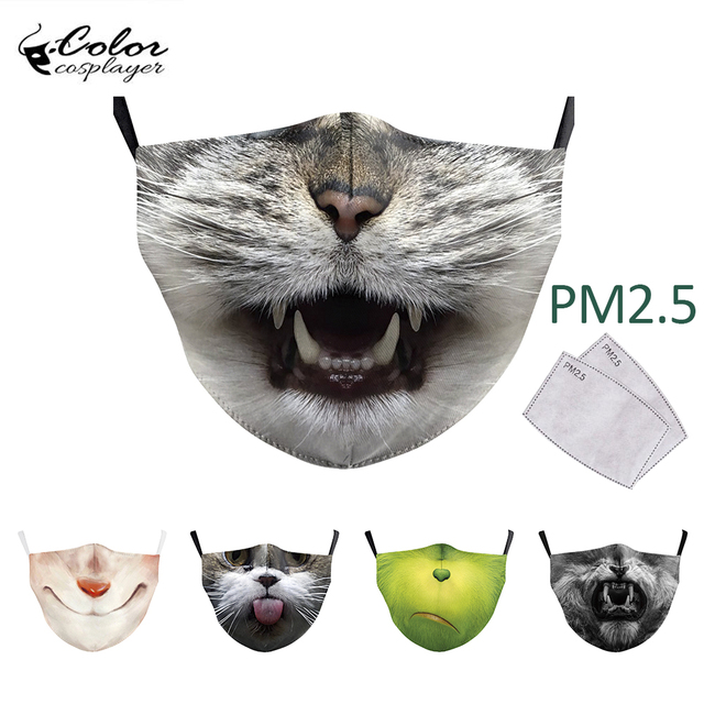 Color Cosplayer Cute Kids Face Fabric Mask Animal Mouth Cosplay Masks Childrens Washable Fabric Mask Mouth Cover