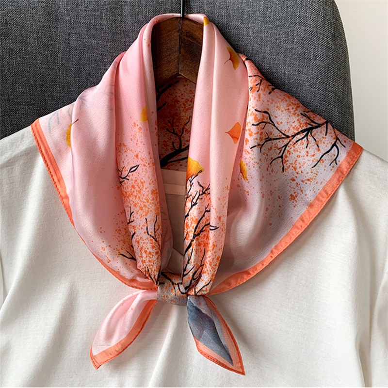 Brand Designer 53cmx53cm Silk Scarf Women Small Square Neckerchief Hair Band Accessories2020 Spring New Fashion Foulard Bandana
