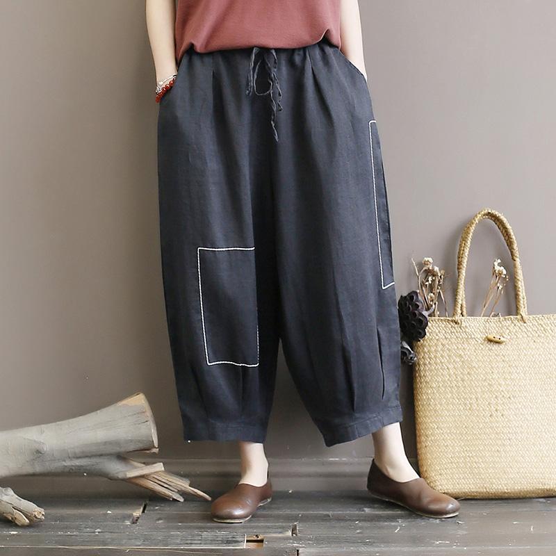 Original women's art embroidery line ramie women's pants loose large size lace lantern pants linen eight pants thin summer