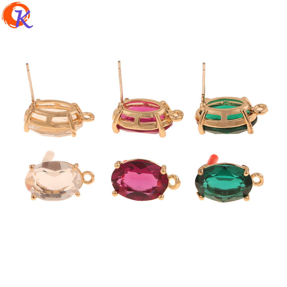 Cordial Design 30Pcs 10*17MM Jewelry Accessories/Hand Made/Earring Findings/Oval Shape/DIY Jewelry Making/Crystal Earring Stud
