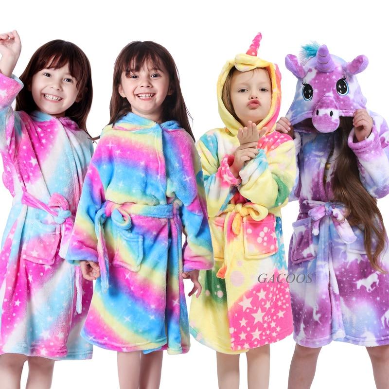 Kugurumi Children's Robe Flannel Hooded Baby Bathrobe Kids Unicorn Bath Robe Winter Animal Child Boys Girls Pajamas Kids Clothes