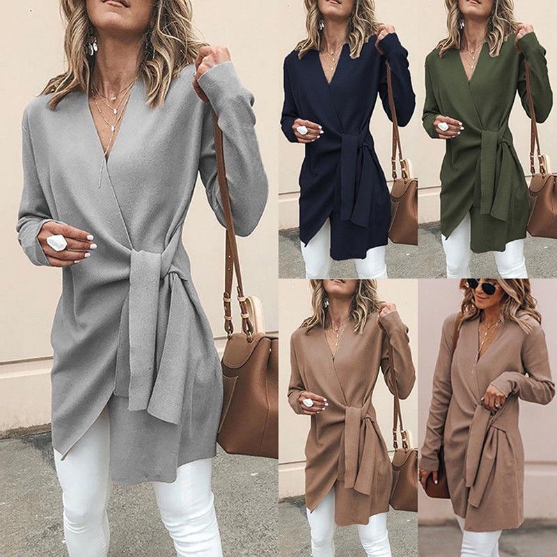Spring Autumn Women Solid Long Sleeve V-Neck Asymmetrical Blend Coats Fashion Casual Elegant Slim Irregular Lace Up Long Blends