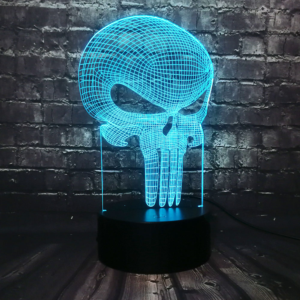 New Tooth Skull 3D LED USB Lamp Halloween Punisher Mood Colorful Scared Theme Haunted House Decor Night Light Stage Lighting