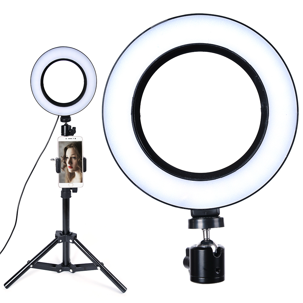 LED Ring Light 16cm Camera Ringlight Tripod Stand Phone Holder For YouTube Tiktok Photography Video Photo Studio Lamp Kit