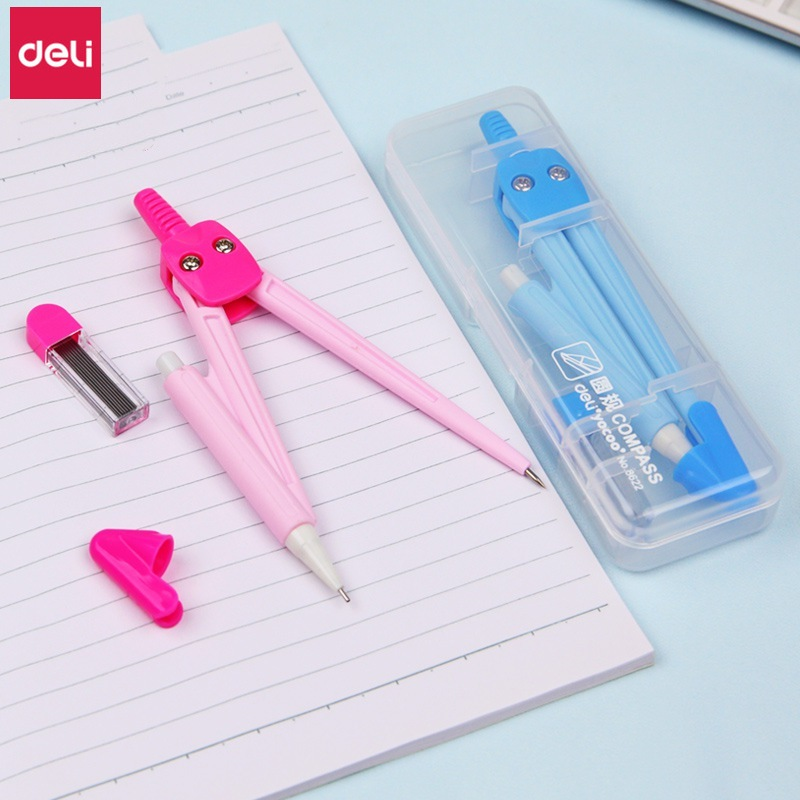 Deli Compass 20 Pcs Cute Candy Colors Student Math Drawing Compasses Office Drafting Tools  School Stationery Supplies Wholesale