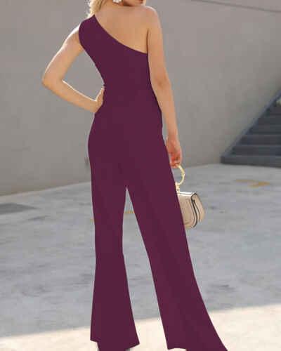 2019 Moda Kadın Clubwear Tulum Bodysuit Parti Romper Uzun Pantolon Rahat Katı Bir omuz Ilmek Zarif Tulum