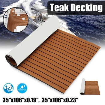 Self-Adhesive 2700x900x6mm Marine Boat Synthetic Flooring EVA Foam Yacht Teak Decking Sheet Boat Accessories Dark Brown