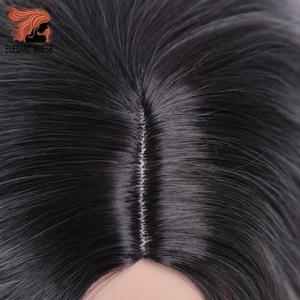 Image 5 - Zarif MUSES 14 inç sentetik Ombre mor mavi peruk kısa su dalga peruk doğal siyah saç peruk kadın isıya dayanıklı