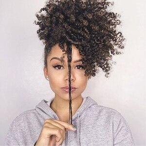 Afro perwersyjne kręcone kok wysokiej Puff peruka kucyk sznurkiem krótki Afro perwersyjne koński ogon klip na syntetyczne perwersyjne kręcone włosy kok