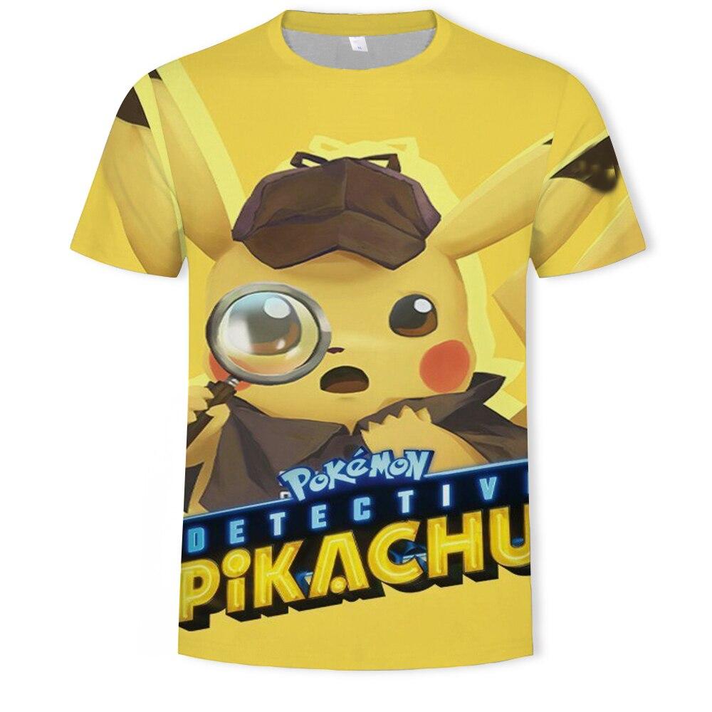 3D Movie Detective Pokemon Pikachu T-Shirt Men's T-Shirt Summer Casual Anime Cartoon Short Sleeve T-Shirt Men's Funny Pokйmon