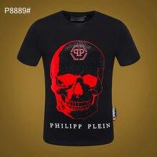Philipp Plein-Européen Américain Mode T-shirt Diable Diamant Chaud Imprimé Décontracté à manches courtes T-shirt D'été Haut T-shirt
