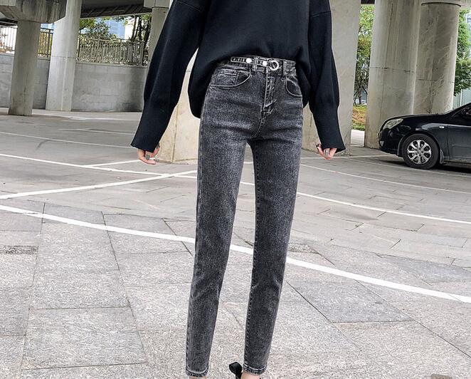 High Waist Small Feet Pencil Pants Women 2020 Spring New High Stretch Jeans Pants TK5566-01-34