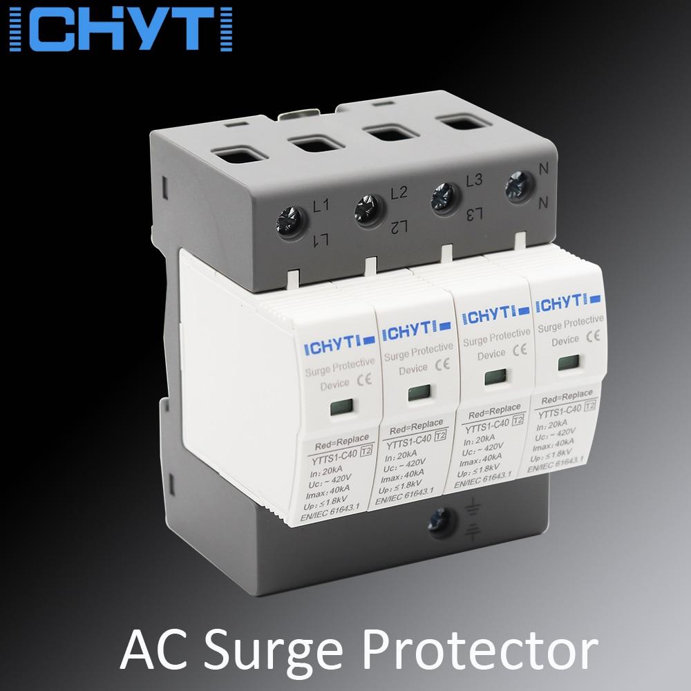 4P 40KA~80KA Din Rail Surge Protection Device SPD Lightning Arrester Protection