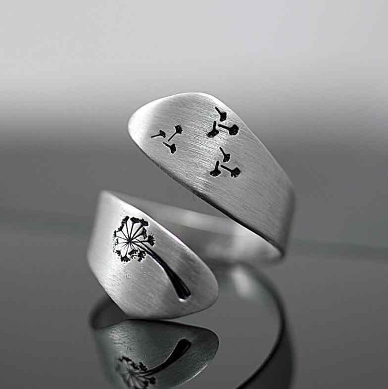 Hainon แฟชั่น Dandelion Design แหวนเงินสีนิ้วมือ Vintage แหวนผู้ชายผู้หญิง Punk กว้างปรับแหวนเครื่องประดับ