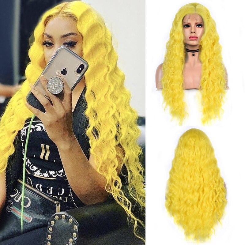 Karizma uzun kıvırcık peruk kadınlar için orta kısmı sentetik dantel ön peruk ısıya dayanıklı iplik saç Cosplay peruk