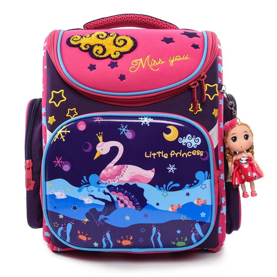 Delune Brand KH003 Kids New Cartoon School Bags For Girls Child Waterproof Grade 1-4 Orthopedic School Backpack Mochila Infantil