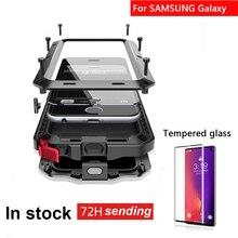 מזג זכוכית + מלא מגן יוקרה מתכת מקרה עבור סמסונג S7 S8 S9 S10 בתוספת הערה 8 הערה 9 הערה 10 בתוספת עמיד הלם כיסוי