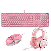 Girls E-sport Gaming Combos Punk Retro Keycaps Mechanical Keyboard Green Switch LED Backlit Earphone 3200DPI Wired Mouse for PC