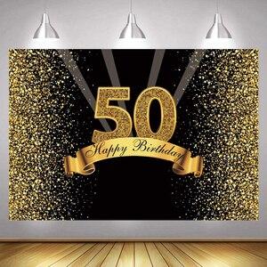 Image 1 - 50th Ảnh Lưng Nữ Nam Bữa Tiệc Sinh Nhật Vui Vẻ Tùy Chỉnh Hoa Vàng Champagne Trang Trí Chụp Ảnh Nền Biểu Ngữ