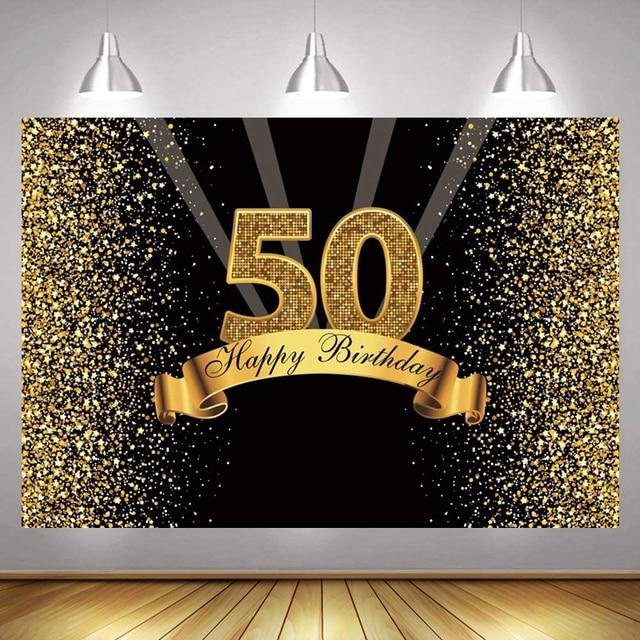 50th Ảnh Lưng Nữ Nam Bữa Tiệc Sinh Nhật Vui Vẻ Tùy Chỉnh Hoa Vàng Champagne Trang Trí Chụp Ảnh Nền Biểu Ngữ