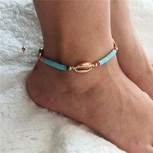 New Handmade Soft Pottery Shell Anklets for Women Bohemian Beach Style Bracelets On The Leg Female Foot Jewelry Wholesale(China)