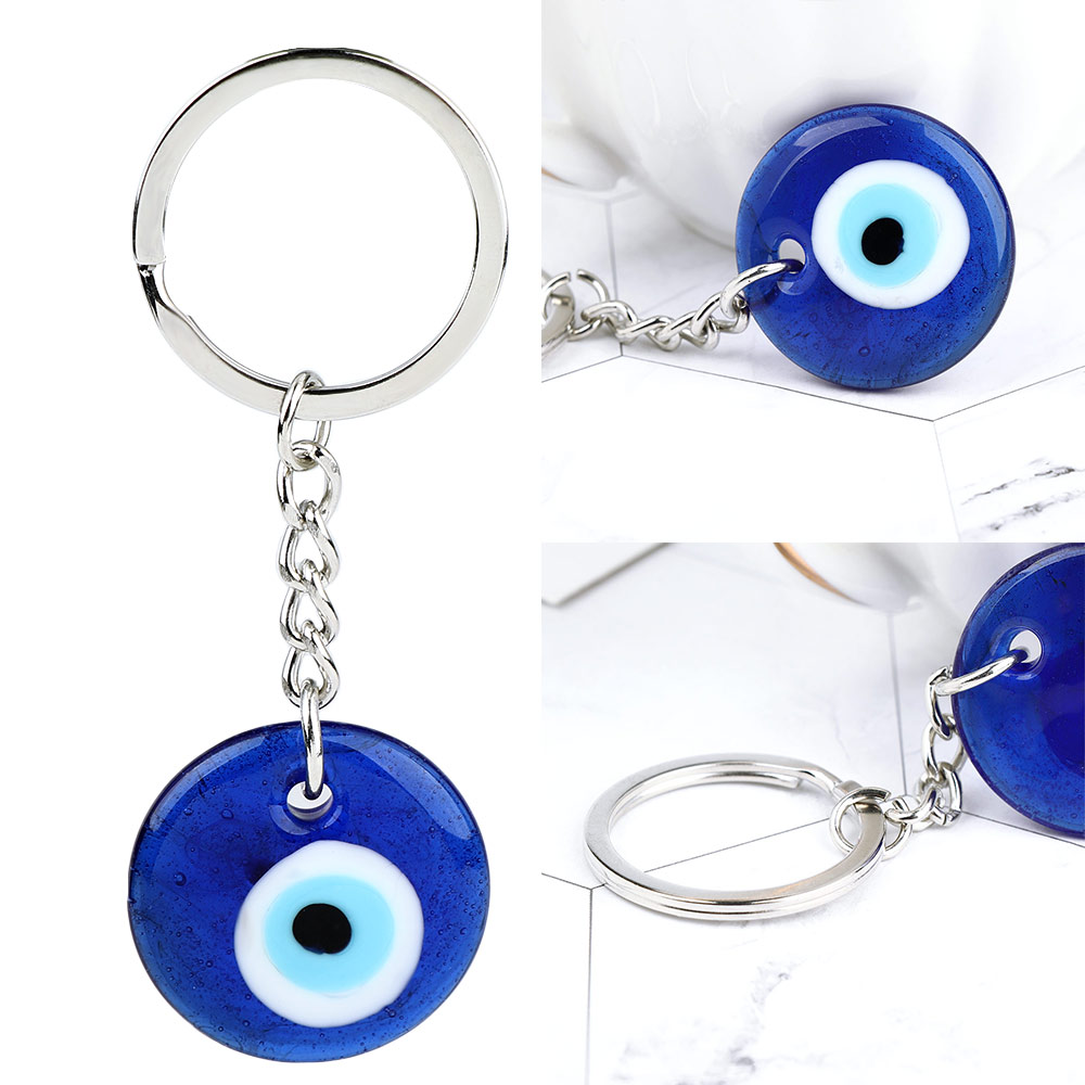 Fashion Lucky Turkish Greek Blue Eye Charm Pendant Gift Fit DIY Keychain Car Key Chains Ring Accessories Sleutelhanger Ring