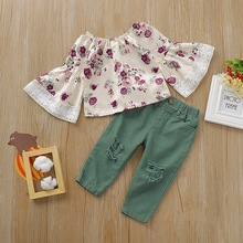 FASHION Girls Printed Flare Sleeve Blouse+Hole Pants 2Pcs Set 1-6Y girls Floral Long Sleeve O-Neck casual cute top Outfits D30 flare sleeve chiffon long blouse