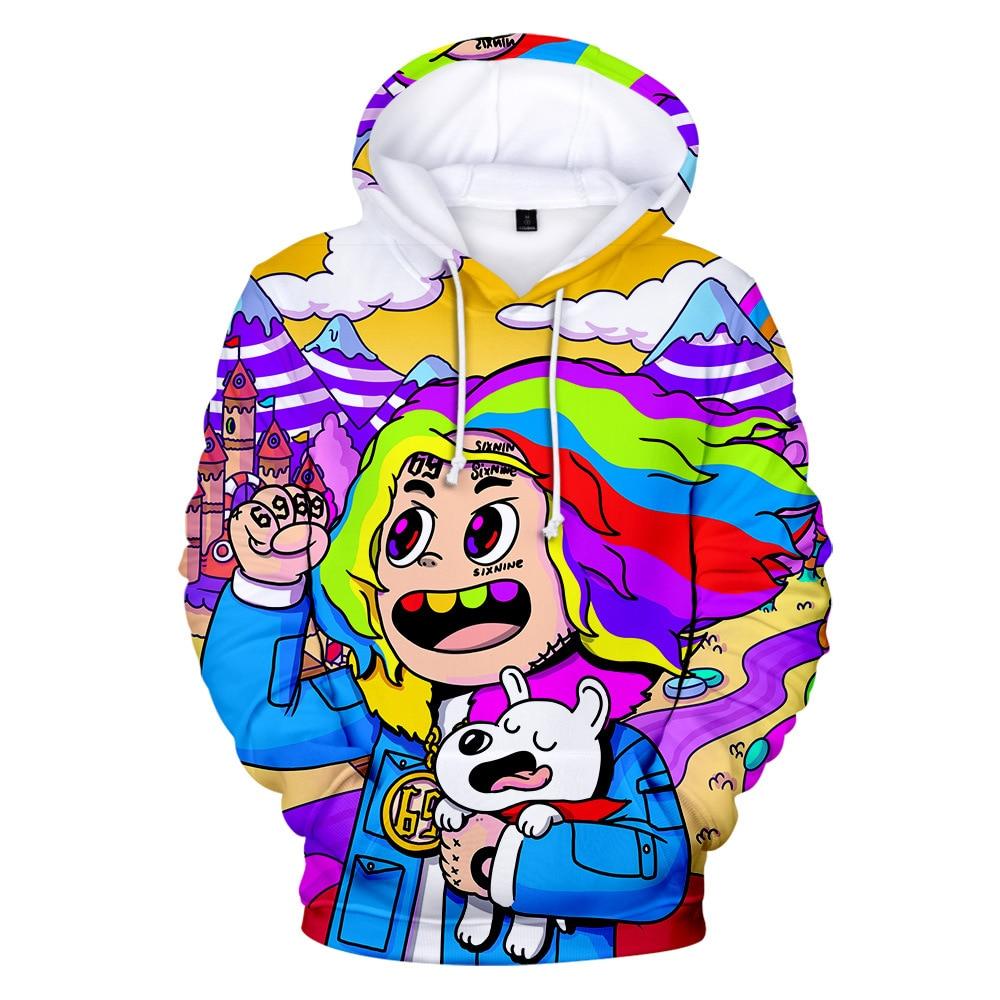 New Rapper Tekashi69 6ix9ine Tekashi 69 3D Print Women/men Hoodies Sweatshirts Harajuku Casual Pullover Hooded Jacket  Clothes