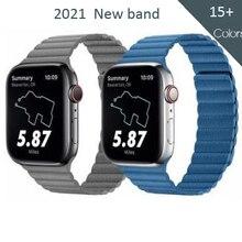 Pulseira de couro genuíno para apple relógio banda 44mm 40mm 42mm 38mm pulseira magnética para iwatch série se 6 5 4 3 2