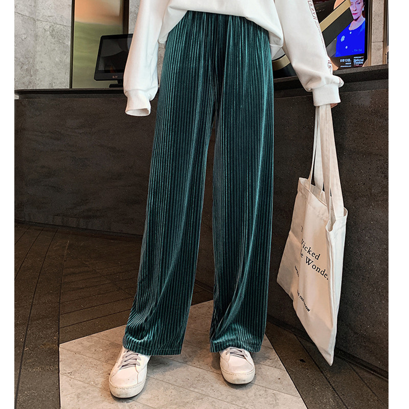 JUJUSLAND Women   Pant   Autumn Winter Velvet   pants   Elastic Waist Trousers Casual   Wide     leg     Pants   Plus Size black Loose trousers 7518