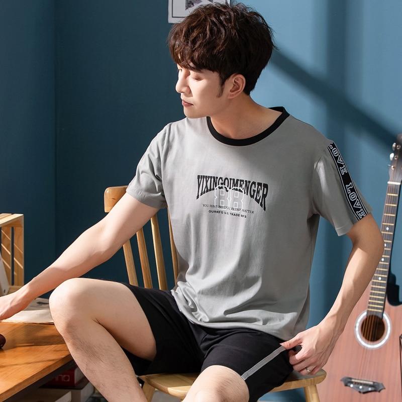 Men's Pajamas Set Summer Cotton Short Sleeve Trousers Set Korean Version Of Loose Summer Home Service Men Sleepwear Set