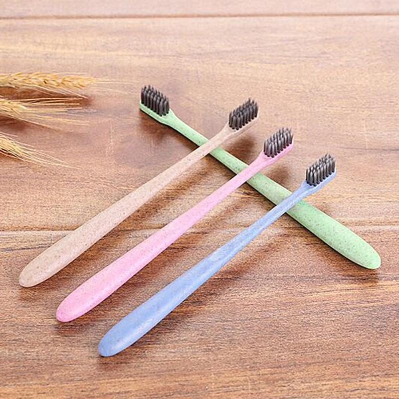10pcs Portable Toothbrush Bathroom Accessory Wheat Straw Home Travel Toothbrush