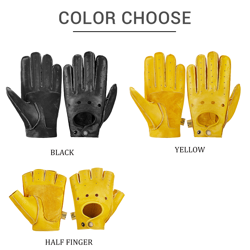 Image 2 - New Genuine Sheepskin Leather Motorcycle Gloves Men Vintage Motorbike Full Finger Gloves Retro Biker Touchscreen Moto Gloves-in Gloves from Automobiles & Motorcycles