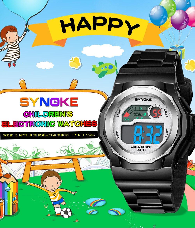 SYNOKE Children Boys Sports Watches Waterproof Drop-proof Primary School Watch LED Digital Date Wristwatch