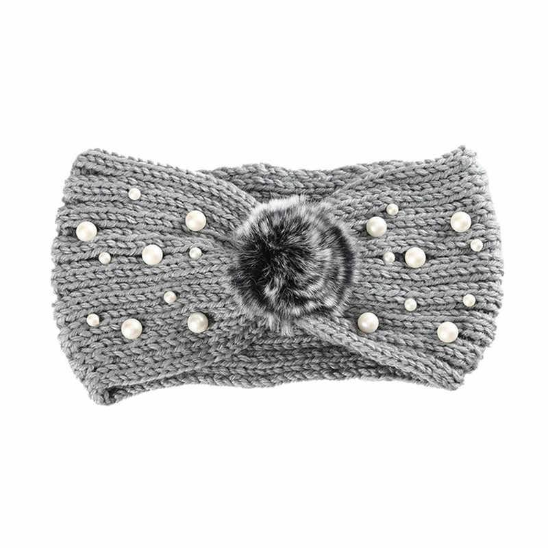 Saç aksesuarları 2019 kış isıtıcı kulak örme kafa bandı türban bayan kadın tığ Bow inci streç Hairband Headwrap D6