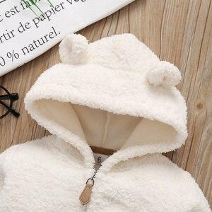 Image 4 - Erkek bebek kış giysileri kapüşonlu ceket polar + romper + pantolon yenidoğan kız giyim bebekler kıyafet uzun kollu bebek seti fermuarlı 2020